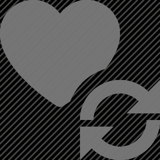 arrows, heart, like, refresh, reload, sync icon