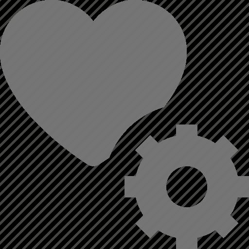 configuration, gear, heart, like icon