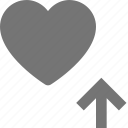 arrow, heart, like, up, upload icon