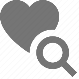 heart, like, magnify, search, view icon