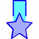achievement, award, badge, medal, reward, ribbon, star icon