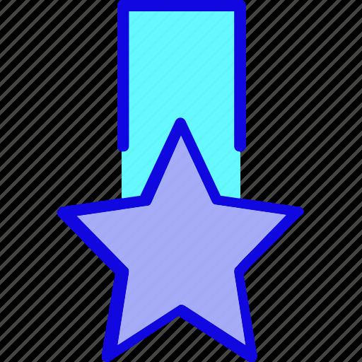 achievement, award, badge, medal, reward, ribbon, star icon