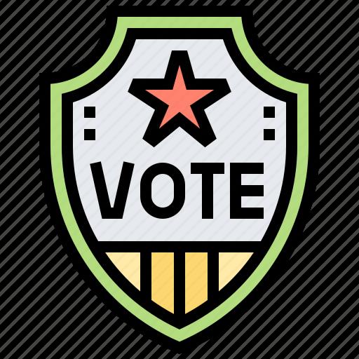 badge, elect, patriotic, political, shield icon