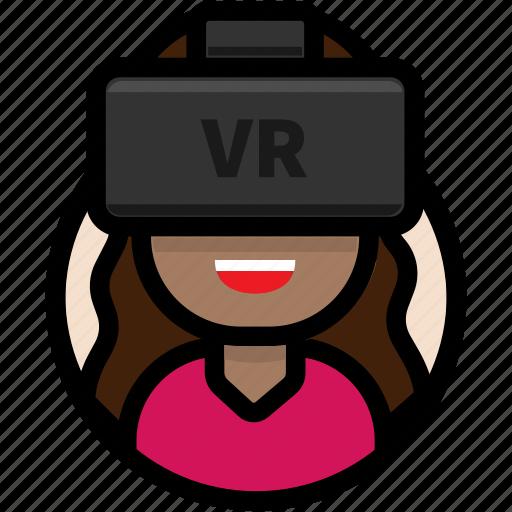 avatar, female avatar, virtual reality, vr, vr glasses, vr headset icon