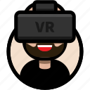 avatar, beard, male avatar, virtual reality, vr, vr glasses, vr headset icon