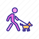 dog, human, leash, man, motion, walk, walking icon
