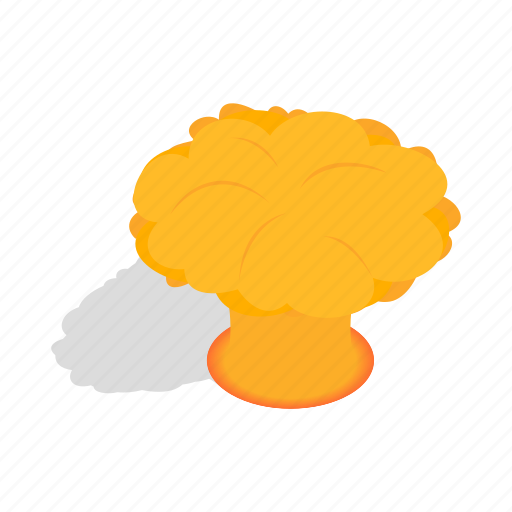 bomb, cloud, explosion, fire, isometric, nuclear, nuke icon
