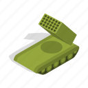 army, crawler, isometric, military, rocket, war, weapon icon