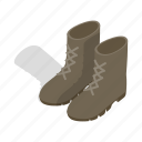 army, boot, combat, footwear, isometric, military, shoe icon