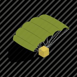 army, isometric, military, parachute, parachuting, sky, sport icon