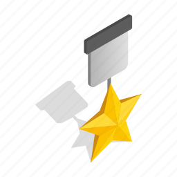 badge, emblem, isometric, medal, order, red, star icon