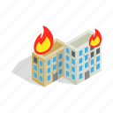 building, destruction, disaster, fire, house, war, window icon