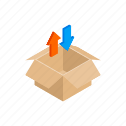 arrow, blue, box, cardboard, container, isometric, red icon