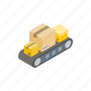 belt, box, conveyor, distribution, industry, isometric, warehouse icon