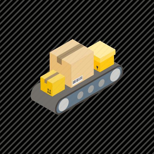 belt, box, conveyor, distribution, industry, isometric, warehouse icon