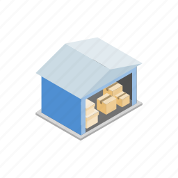 building, cargo, industry, isometric, storage, warehouse, workplace icon