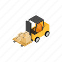 box, forklift, isometric, loader, transportation, truck, warehouse icon