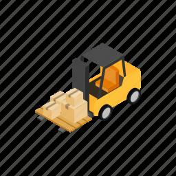 box, forklift, isometric, loader, transportation, truck, warehouse icon
