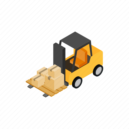 Box, forklift, isometric, loader, transportation, truck, warehouse icon - Download on Iconfinder