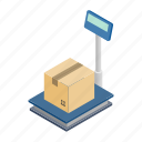 box, electronic, grocery, isometric, safety, scales, stationary icon