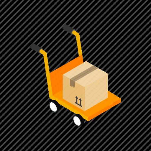 cargo, cart, dolly, four, freight, isometric, wheel icon