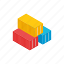 cargo, container, export, freight, isometric, storage, transport icon