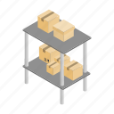 box, cargo, good, isometric, shelf, storage, warehouse icon