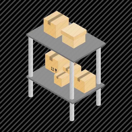 box, cargo, good, isometric, shelf, storage, warehouse icon