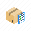 box, checklist, form, isometric, note, notebook, report icon