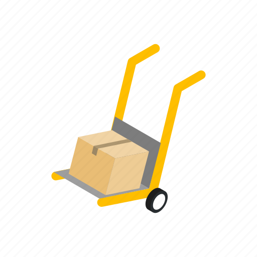 cargo, cart, dolly, freight, isometric, package, wheel icon