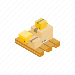cardboard, delivery, isometric, pack, package, pallet, transportation icon