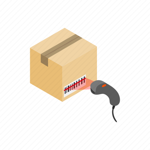 barcode, box, code, isometric, scanner, scanning, warehouse icon