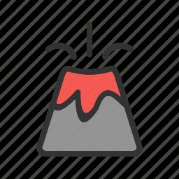 danger, disaster, eruption, lava, risk, volcano, warning icon