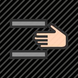caution, danger, hand, machine, press, risk, warning icon