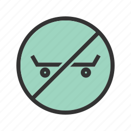 danger, roller, shoe, sign, sport, stop, warning icon