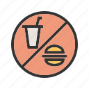 drinks, food, information, no, prohibited, shop, sign