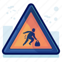 alert, carry, danger, man, sign, warning icon