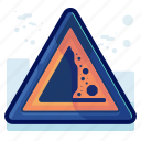 alert, avalache, cliff, danger, sign, warning icon