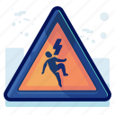 alert, danger, electricution, man, sign, warning icon