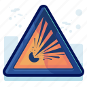 alert, danger, explosion, explosive, sign, warning icon