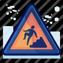 alert, danger, downstairs, man, sign, warning