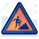 alert, danger, man, sign, upstairs, warning icon