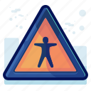 alert, danger, people, person, sign, warning icon