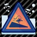 warning, danger, sign, man, downhill, slide, alert