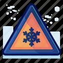 alert, cold, danger, sign, snow, warning