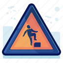 alert, danger, man, sign, step, warning icon