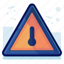 alert, danger, sign, temperature, thermometer, warning icon