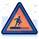alert, danger, man, sign, warning, water icon