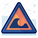 alert, danger, sign, warning, wave icon