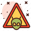 aliens, attention, direction, map, warning icon
